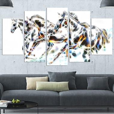 Art mural en métal, dessin de chevaux sauvages, 60 x 32, 5 panneaux (MT2425-373)