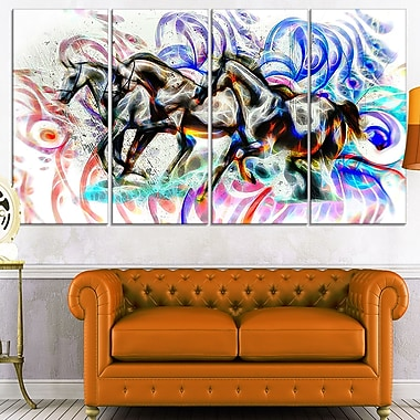 Graffiti Horses Metal Wall Art, 48x28, 4 Panels, (MT2427-271)