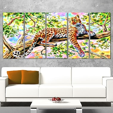 Watchful Cheeta Metal Wall Art, 60x28, 5 Panels, (MT2428-401)