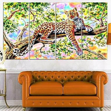Art mural en métal, léopard vigilant, 48 x 28 po, 4 panneaux, (MT2428-271)