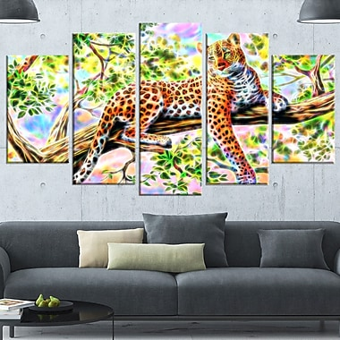 Watchful Cheeta Metal Wall Art, 60x32, 5 Panels, (MT2428-373)