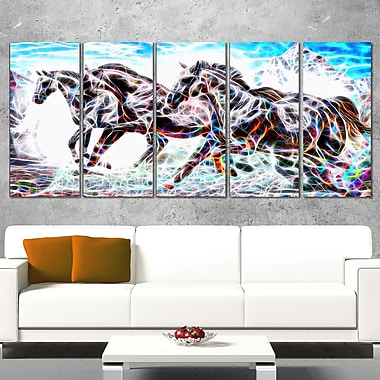 Stampede Horse Metal Wall Art, 60x28, 5 Panels, (MT2429-401)