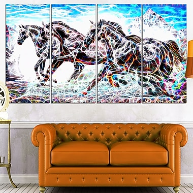 Stampede Horse Metal Wall Art, 48x28, 4 Panels, (MT2429-271)