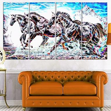 Cavalcade de chevaux, art mural en métal, 48 x 28, 4 panneaux, (MT2429-271)