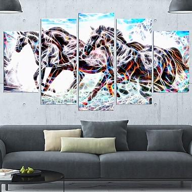 Cavalcade de chevaux, art mural en métal, 60 x 32, 5 panneaux, (MT2429-373)