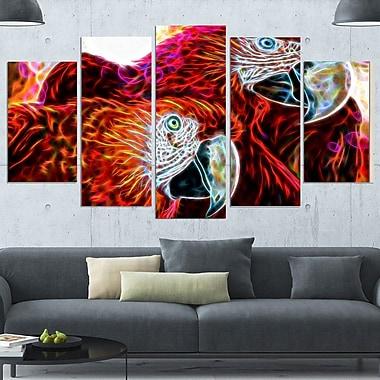 Aras macao, art mural en métal, 60 x 32, 5 panneaux, (MT2430-373)