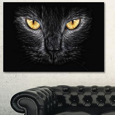 Art mural en métal, yeux de chat noir, 28 x 12 (MT2431-28-12)