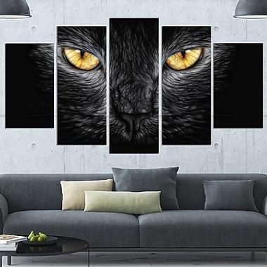Art mural en métal, yeux de chat noir, 60 x 32, 5 panneaux (MT2431-373)