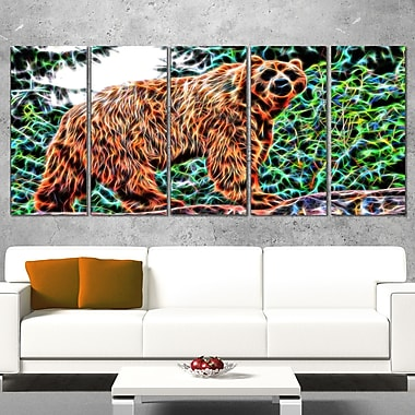 Brown Bear Metal Wall Art, 60x28, 5 Panels, (MT2434-401)