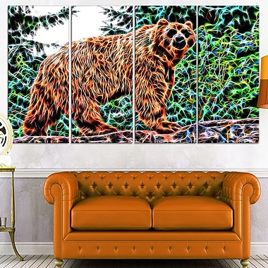 Brown Bear Metal Wall Art, 48x28, 4 Panels, (MT2434-271)