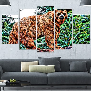 Brown Bear Metal Wall Art, 60x32, 5 Panels, (MT2434-373)
