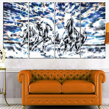 Galloping Horses Metal Wall Art, 48x28, 4 Panels, (MT2435-271)