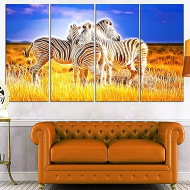 Zebra Duo on Metal Wall Art, 48x28, 4 Panels, (MT2442-271)