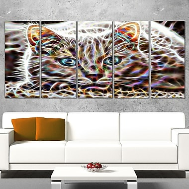 Cat Nap Abstract Cat Metal Wall Art, 60x28, 5 Panels, (MT2443-401)