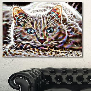 Chat qui fait la sieste abstrait art mural en métal, 28 x 12, (MT2443-28-12)