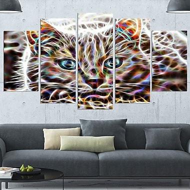 Cat Nap Abstract Cat Metal Wall Art, 60x32, 5 Panels, (MT2443-373)