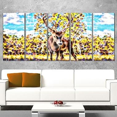 Chevreuil dans les bois art mural en métal, 60 x 28, 5 panneaux (MT2449-401)