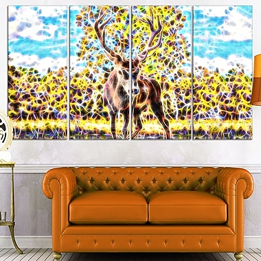 Deer in the Woods Metal Wall Art, 48x28, 4 Panels, (MT2449-271)
