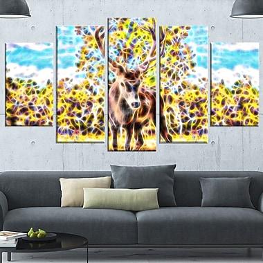 Deer in the Woods Metal Wall Art, 60x32, 5 Panels, (MT2449-373)