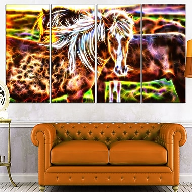 Horse Embrace, art mural en métal, 48 x 28, 4 panneaux (MT2450-271)
