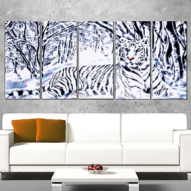 White Tiger White Forest Metal Wall Art