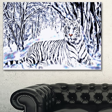 White Tiger White Forest, art mural en métal, 28 x 12, (MT2451-28-12)