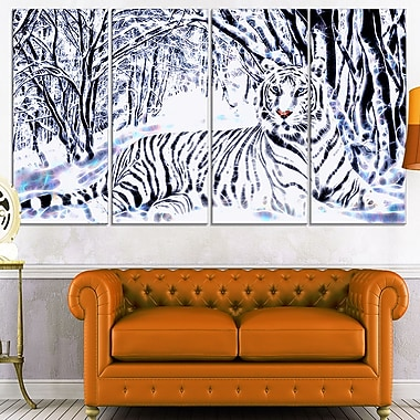 White Tiger White Forest Metal Wall Art, 48x28, 4 Panels, (MT2451-271)