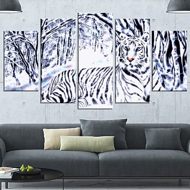 White Tiger White Forest Metal Wall Art, 60x32, 5 Panels, (MT2451-373)