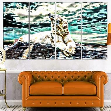 Art mural en métal, ours polaire au repos, 48 x 28 po, 4 panneaux, (MT2453-271)