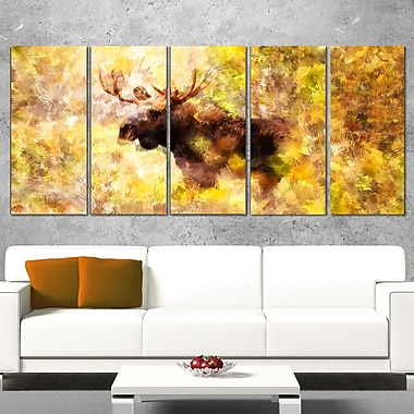 Magnificent Moose Metal Wall Art, 60x28, 5 Panels, (MT2454-401)