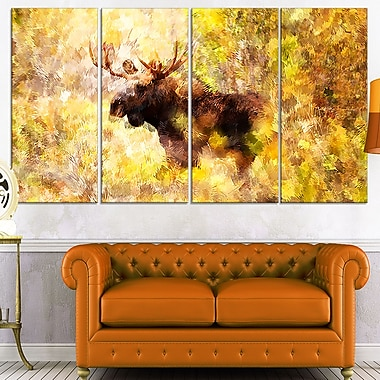 Magnificent Moose Metal Wall Art, 48x28, 4 Panels, (MT2454-271)