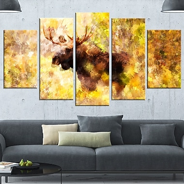 Magnificent Moose Metal Wall Art, 60x32, 5 Panels, (MT2454-373)