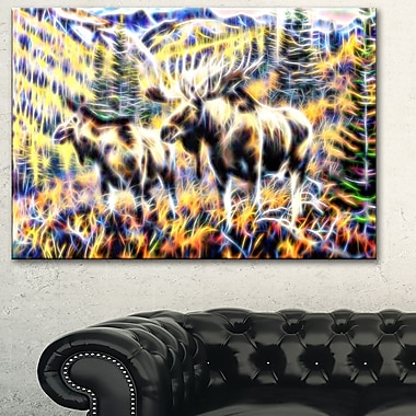 Moose in the Forest Metal Wall Art, 28x12, (MT2459-28-12)