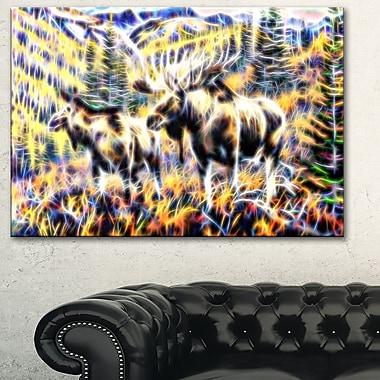 Art mural en métal, orignal en forêt, 28 x 12 po, (MT2459-28-12)