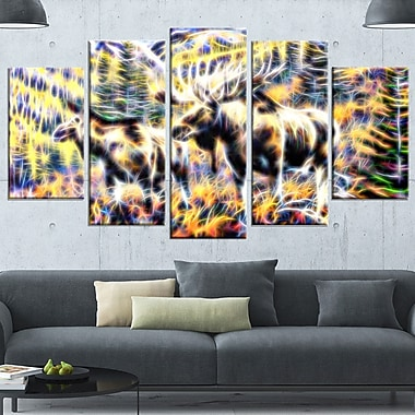 Moose in the Forest Metal Wall Art, 60x32, 5 Panels, (MT2459-373)