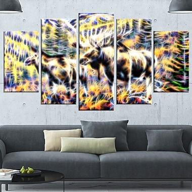 Art mural en métal, orignal en forêt, 60 x 32 po, 5 panneaux, (MT2459-373)