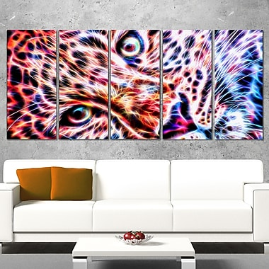 Cheeta face Metal Wall Art, 60x28, 5 Panels, (MT2460-401)
