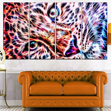 Cheeta face Metal Wall Art, 48x28, 4 Panels, (MT2460-271)