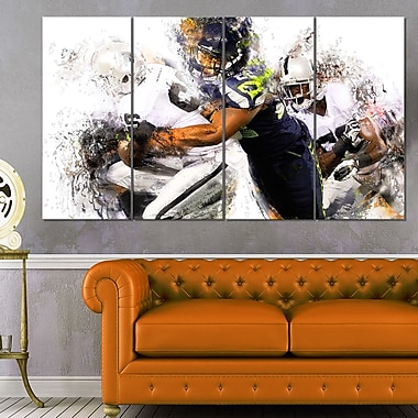 Football Tackle Metal Wall Art, 48x28, 4 Panels, (MT2504-271)