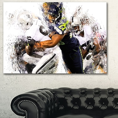 Football Tackle Metal Wall Art, 28x12, (MT2504-28-12)