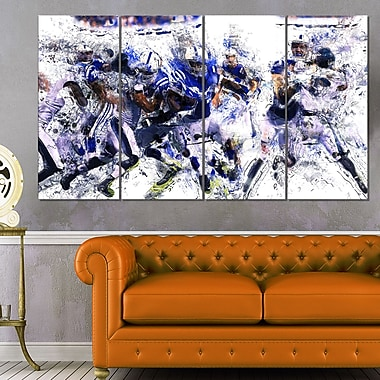 Football Running Back to Score Metal Wall Art, 48x28, 4 Panels, (MT2506-271)