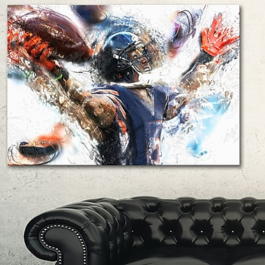 Football Touchdown Metal Wall Art, 28x12, (MT2507-28-12)