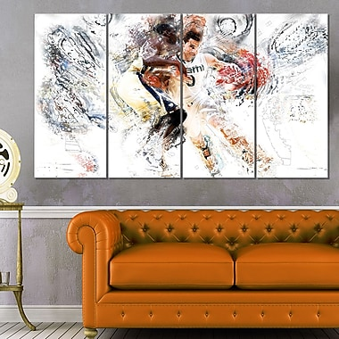 Basketball Pick and Roll Metal Wall Art, 48x28, 4 Panels, (MT2510-271)