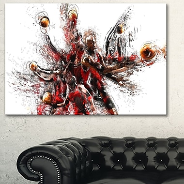 Basketball Lay Up Metal Wall Art, 28x12, (MT2513-28-12)