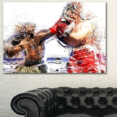 Boxing Knock Out Metal Wall Art, 28x12, (MT2515-28-12)