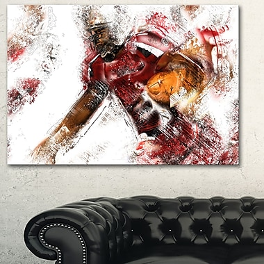 Football en mouvement, art mural en métal, 28 x 12, (MT2518-28-12)