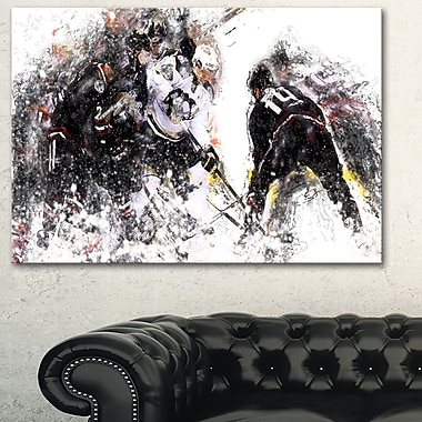 Hockey Face Off Metal Wall Art, 28x12, (MT2522-28-12)