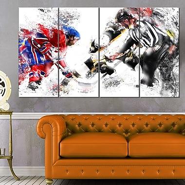 Hockey Face Off Metal Wall Art, 48x28, 4 Panels, (MT2524-271)