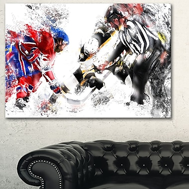 Hockey Face Off Metal Wall Art, 28x12, (MT2524-28-12)
