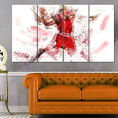 Basketball Slam Dunk Metal Wall Art, 48x28, 4 Panels, (MT2526-271)
